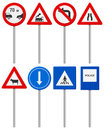 Traffic road sign set signs on a white background Stock Photo