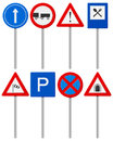 Traffic road sign set signs on a white background Royalty Free Stock Photos