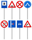 Traffic road sign set signs on a white background Stock Images