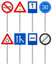Traffic road signs set on a white background Stock Image