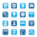 Traffic, road and travel icons Royalty Free Stock Photography