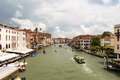 The traffic of ships and gondolas in Venice Royalty Free Stock Photo