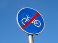 Traffic sign end of cycle paths Royalty Free Stock Photo