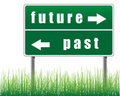 Traffic sign future past grass. Stock Photo
