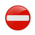 Traffic sign no entry over the white background Royalty Free Stock Photo