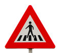 Traffic sign for pedestrian crossing against white background Royalty Free Stock Photo