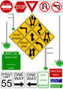 Traffic sign and post vector icons Stock Photography