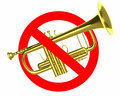 Traffic sign prohibited beeps with real trumpet Royalty Free Stock Photo