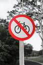 Traffic sign of prohibited bicycles Royalty Free Stock Photo