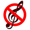 Traffic sign prohibited music, with clef inside Royalty Free Stock Photo