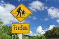 Traffic sign school warning sign and blue sky in countryside photo taken on june th Stock Photography