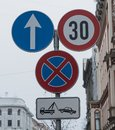 Traffic sign `Stop is prohibited.` Royalty Free Stock Photo
