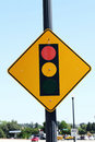 Traffic signal ahead sign against blue sky Royalty Free Stock Photography