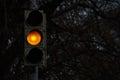 Traffic signal, yellow light at night Royalty Free Stock Photo