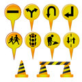 Traffic signals eight yellow with different icons inside Stock Image