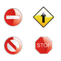 Traffic signals four colored for and roads Stock Image