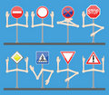 Traffic signs with hands Stock Photos