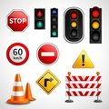 Traffic signs and lights pictograms collection Royalty Free Stock Photo