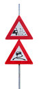 Traffic signs for loose chippings and slippery road against white background Stock Photos