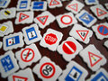 Traffic signs tilt shift effect Stock Images