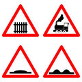 Traffic signs vector set on white background, railway level crossing ahead, speed hump, rough road symbols in red Royalty Free Stock Photo
