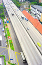 Traffic in singapore aerial view on highway Royalty Free Stock Photography