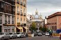 Traffic at spanish street  in Madrid, Spain. Royalty Free Stock Photo