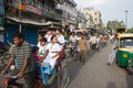 Traffic on street in Old Delhi Royalty Free Stock Photos
