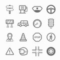 Traffic symbol line icon set on white background vector illustration Stock Photography