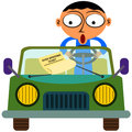 A traffic ticket cartoon man in car with an over speeding Stock Photo