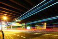 Traffic trail pass though underpass at night Royalty Free Stock Image