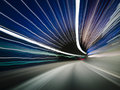 Traffic tunnel abstract stripes from cars and lights in a Royalty Free Stock Photo
