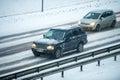 Traffic in Vilnius during winter snowstorm