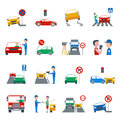 Traffic violation icons set and driving flat isolated vector illustration Stock Image
