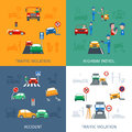 Traffic violation set design concept with road accidents flat icons vector illustration Stock Photos