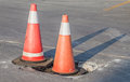 Traffic warning cones for warning construction site. Royalty Free Stock Photo
