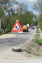 Traffic,warning sign road repairing Stock Image