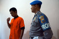 Traffickers of narcotics police arrested in the town solo central java indonesia Royalty Free Stock Photo