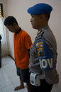 Traffickers of narcotics police arrested in the town solo central java indonesia Stock Image