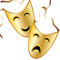 Tragedy and comedy masks representing are featured in an illustration with space for text Stock Images