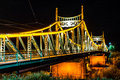 Traian Bridge Arad, Romania Night time photo Royalty Free Stock Photo