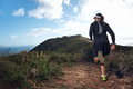 Trail man run running on mountain path exercising Royalty Free Stock Photography
