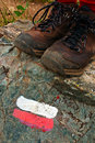 Trail Marker and Boots Royalty Free Stock Image