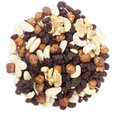 Trail mix nuts and raisins of dry in germany known as studentenfutter on white background Royalty Free Stock Photo