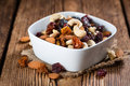 Trail Mix on wooden background Royalty Free Stock Photo