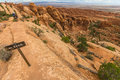 The trail on rocks in Arches National Park, USA Royalty Free Stock Photo