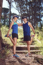 Trail runners stretching Royalty Free Stock Photo