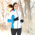 Trail running in winter Stock Photos