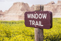 Window Trail Sign | Badlands National Park, South Dakota, USA Royalty Free Stock Photo