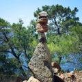 Trail Sign. Man made stone pyramid. Walking the Lycian Way, Turkey. Royalty Free Stock Photo